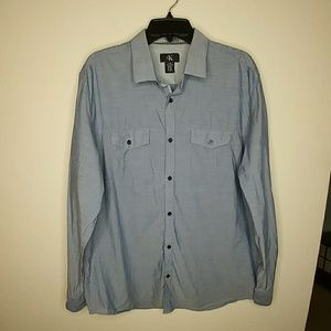 Calvin Klein Chambray Long Sleeve Button Up Shirt